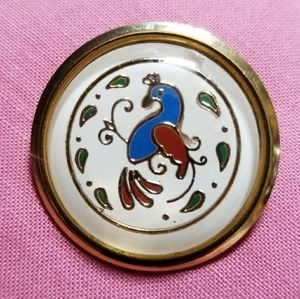 Vintage Dutch bird hex sign brooch round gold blue